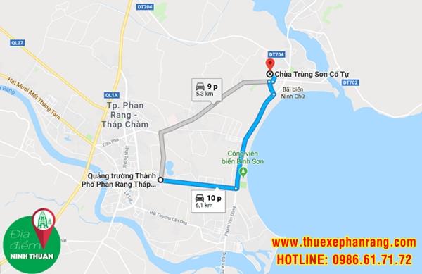 Bản đồ di chuyển đến Trùng Sơn Cổ Tự